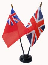 UNION JACK / BRITISH NAVAL RED ENSIGN - Table Flag Set